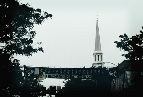 A banner over Main Street, Brattleboro VT.
